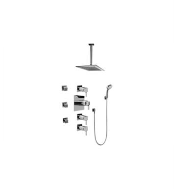 Graff GC1.231A-LM39S Qubic Tre Contemporary Square Thermostatic Set with Body Sprays and Handshower