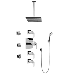 Graff GC1.231A-LM40S Contemporary Square Thermostatic Set with Body Sprays and Handshower