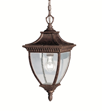 Kichler 9826TZG Amesbury Collection 1 Light Outdoor Hanging Pendant in Tannery Bronze with Gold Accent