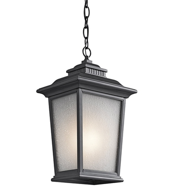Kichler 49441BK Weatherly Collection 1 Light Outdoor Hanging Pendant in Black (Painted)