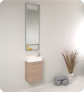 "Fresca FVN8002LO Pulito 16"" Small Light Wood Modern Bathroom Vanity with Tall Mirror"