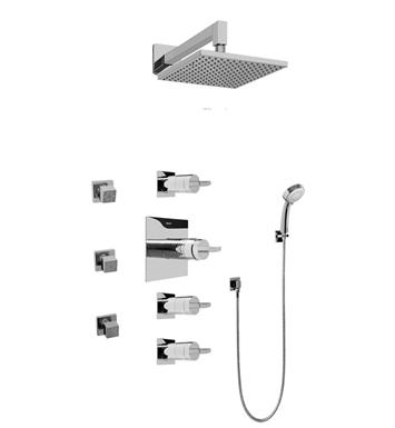 Graff GC1.232A-C14S-PC Contemporary Square Thermostatic Set with Body Sprays and Handshower With Finish: Polished Chrome
