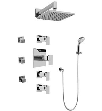 Graff GC1.232A-LM31S Contemporary Square Thermostatic Set with Body Sprays and Handshower