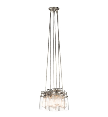 Kichler 42877NI Brinley Collection Pendant 6 Light in Brushed Nickel