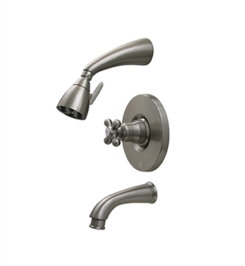 Whitehaus 614.865PR-AB Blairhaus McKinley Pressure Balance Valve with Showerhead, Tub Spout with Pull-down Diverter and Bell-shaped Cross Handle With Finish: Antique Brass
