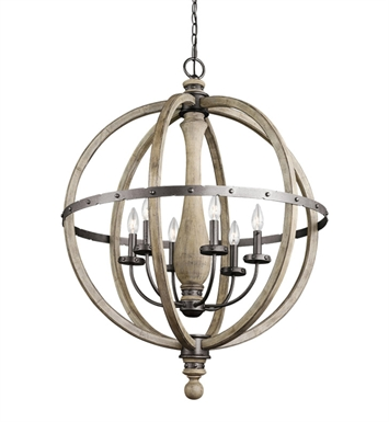 Kichler 43327DAG Evan Collection Pendant 6 Light in Distressed Antique Gray