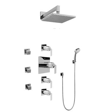 Graff GC1.232A-LM40S-SN Contemporary Square Thermostatic Set with Body Sprays and Handshower With Finish: Steelnox (Satin Nickel)