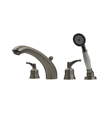 Whitehaus 614.433TF-BN Bathhaus Adams Tub Filler Set, Deck Mount with smooth Arcing Spout, Bell-shaped Lever Shower and Built in Diverter With Finish: Brushed Nickel