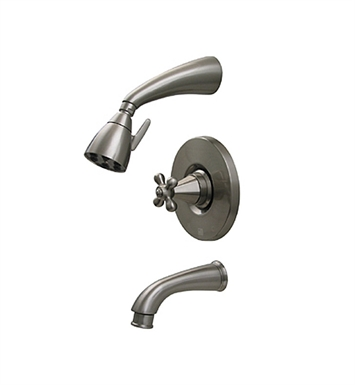 Whitehaus 614.845PR-P Blairhaus Truman Pressure Balance Valve with Showerhead, Tub Spout with Pull-down Diverter and Hexagon-shaped Cross Handle With Finish: Pewter