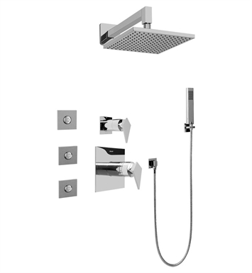 Graff GC5.122A-LM23S Contemporary Square Thermostatic Set with Body Sprays and Handshower