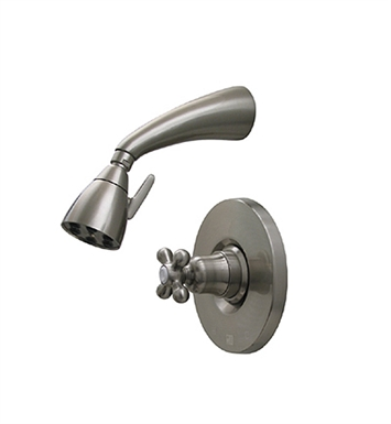 Whitehaus 614.868SH-P Blairhaus McKinley Pressure Balance Valve with Showerhead and Bell-shaped Cross Handle With Finish: Pewter