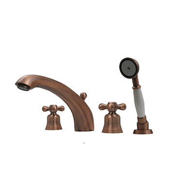 Whitehaus Bathhaus McKinley 614.463TF Tub Filler Set, Deck Mount with smooth Arcing Spout, Bell-shaped Cross Handles, Smooth Escutcheons, Hand held Shower and Built in Diverter