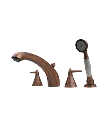 Whitehaus 614.453TF-ACO Bathhaus Monroe Tub Filler Set, Deck Mount with smooth Arcing Spout, Octagone-shaped Lever Handles, Smooth Escutcheons, Hand held Shower and Built in Diverter With Finish: Antique Copper