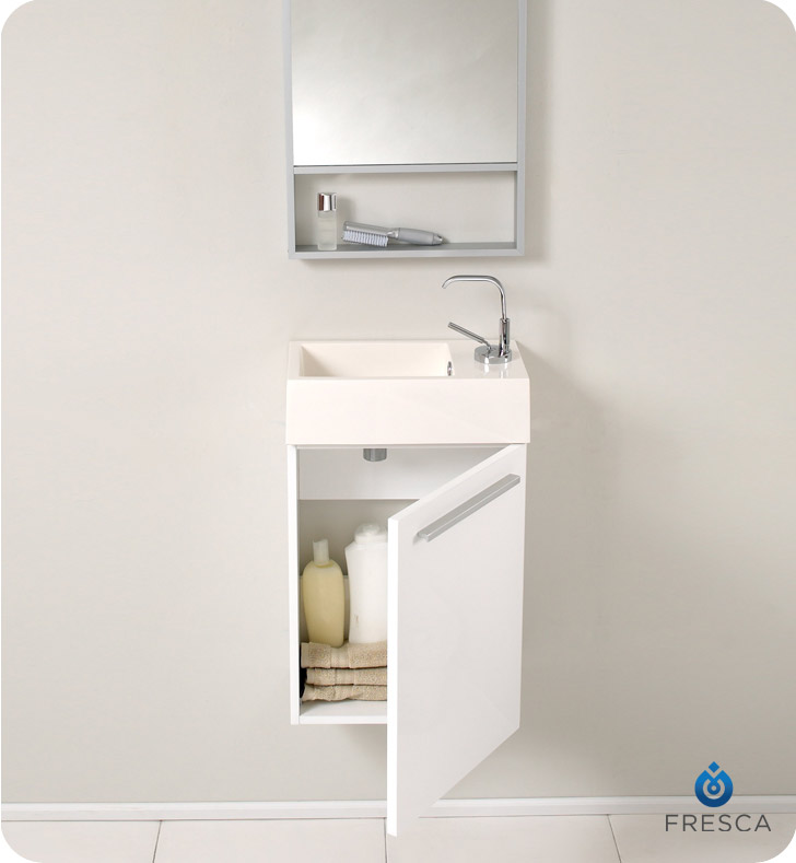 "Very Small Bathroom Vanities fresca fvn8002wh pulito 16"" small white modern bathroom vanity"