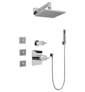 Graff GC5.122A-C14S-SN Contemporary Square Thermostatic Set with Body Sprays and Handshower With Finish: Steelnox (Satin Nickel)
