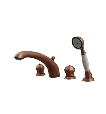 Whitehaus 614.423TF-ACO Bathhaus Washington Tub Filler Set, Deck Mount with Smooth Arcing Spout, Crown-shaped Turn Handles, Smooth Escutcheons, Hand held Shower and Built in Diverter With Finish: Antique Copper