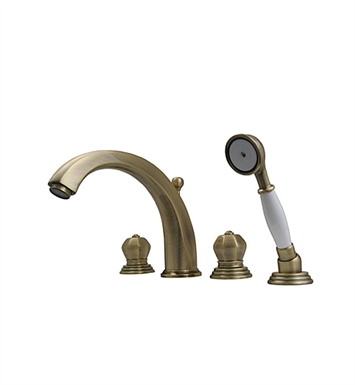Whitehaus 514.423TF-BN Bathhaus Washington Tub Filler Set, Deck Mount with Smooth Arcing Spout, Crown-shaped Turn Handles, Smooth Escutcheons, Hand held Shower and Built in Diverter With Finish: Brushed Nickel
