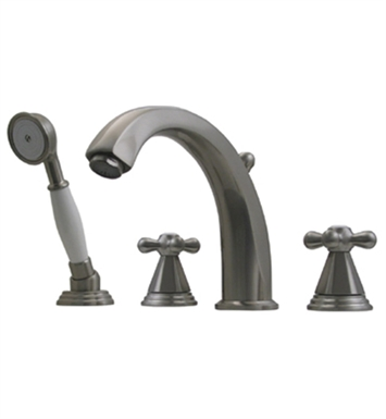 Whitehaus Bathhaus Truman 514.443TF Tub Filler Set, Deck Mount with smooth Arcing Spout, Hexagon-shaped Cross Handles, Smooth Escutcheons, Hand held Shower and Built in Diverter