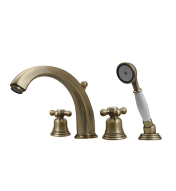Whitehaus Bathhaus McKinley 514.463TF Tub Filler Set, Deck Mount with smooth Arcing Spout, Bell-shaped Cross Handles, Smooth Escutcheons, Hand held Shower and Built in Diverter