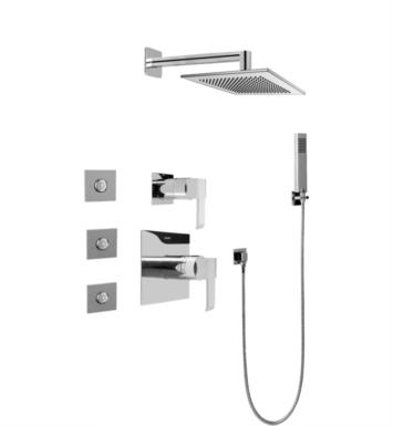 Graff GC5.122A-LM38S-SN Qubic Full Thermostatic Shower System with Diverter Valve With Finish: Steelnox (Satin Nickel) And Rough / Valve: Trim + Rough