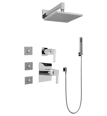 Graff GC5.122A-LM38S-PC Contemporary Square Thermostatic Set with Body Sprays and Handshower With Finish: Polished Chrome