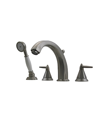 Whitehaus 514.453TF-P Bathhaus Monroe Tub Filler Set, Deck Mount with smooth Arcing Spout, Octagone-shaped Lever Handles, Smooth Escutcheons, Hand held Shower and Built in Diverter With Finish: Pewter