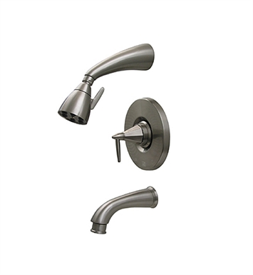 Whitehaus 614.855PR-AB Blairhaus Monroe Pressure Balance Valve with Showerhead, Tub Spout with Pull-down Diverter and Octagon-shaped Lever Handle With Finish: Antique Brass