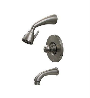 Whitehaus 614.825PR-P Blairhaus Washington Pressure Balance Valve with Showerhead, Tub Spout with Pull-down Diverter and Crown-shaped Turn Handle With Finish: Pewter