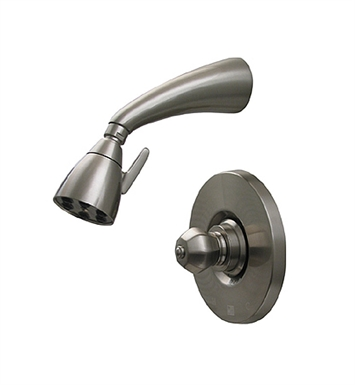 Whitehaus 614.828SH-P Blairhaus Washington Pressure Balance Valve with Showerhead and Crown-shaped Turn Handle With Finish: Pewter
