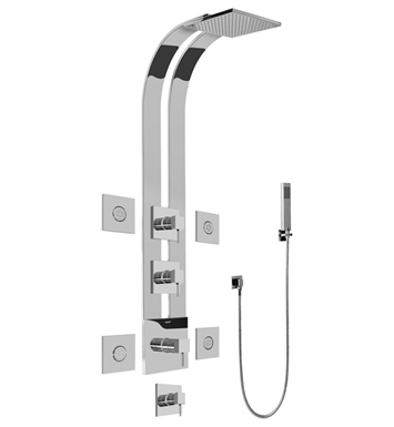 Graff GE1.120A-LM39S-PC Square Thermostatic Ski Shower Set with Body Sprays and Handshowers With Finish: Polished Chrome