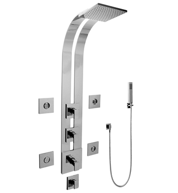 Graff GE1.120A-LM31S Square Thermostatic Ski Shower Set with Body Sprays and Handshowers