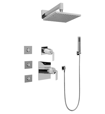 Graff GC5.122A-LM40S-PC Contemporary Square Thermostatic Set with Body Sprays and Handshower With Finish: Polished Chrome