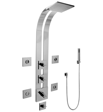 Graff GE1.120A-C14S-SN Square Thermostatic Ski Shower Set with Body Sprays and Handshowers With Finish: Steelnox (Satin Nickel)