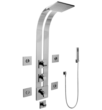 Graff GE1.120A-C10S Square Thermostatic Ski Shower Set with Body Sprays and Handshowers