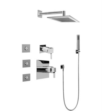 Graff GC5.122A-LM39S-SN Qubic Tre Full Thermostatic Shower System with Diverter Valve With Finish: Steelnox (Satin Nickel) And Rough / Valve: Rough