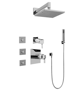 Graff GC5.122A-LM39S-PC Contemporary Square Thermostatic Set with Body Sprays and Handshower With Finish: Polished Chrome
