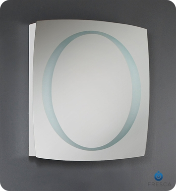 Fresca Illuminated Circular Bathroom Mirror w/ Frosted Inner Border