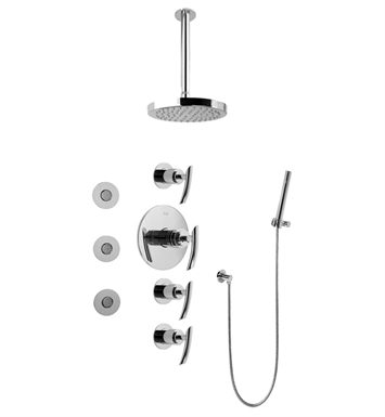 Graff GB1.121A-LM24S-SN GB1.121A-LM25B Contemporary Round Thermostatic Set with Body Sprays and Handshower With Finish: Steelnox (Satin Nickel)
