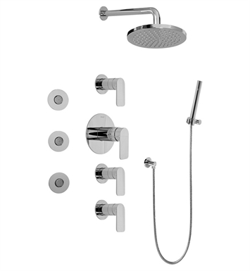 Graff GB1.122A-LM42S-SN Contemporary Round Thermostatic Set with Body Sprays and Handshower With Finish: Steelnox (Satin Nickel)