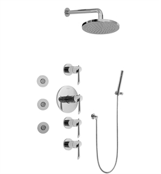 Graff GB1.122A-LM25B Contemporary Round Thermostatic Set with Body Sprays and Handshower