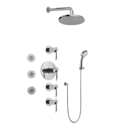 Graff GB1.132A-LM25B Contemporary Round Thermostatic Set with Body Sprays and Handshower