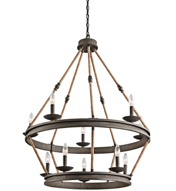 Kichler 43424OZ Kearn Collection Chandelier 10 Light in Olde Bronze
