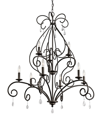 Kichler 43449OZ Marcele Collection Chandelier 9 Light in Olde Bronze