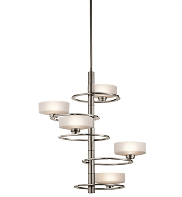 Kichler 43366CLP Aleeka Collection Foyer Chandelier 5 Light in Classic Pewter