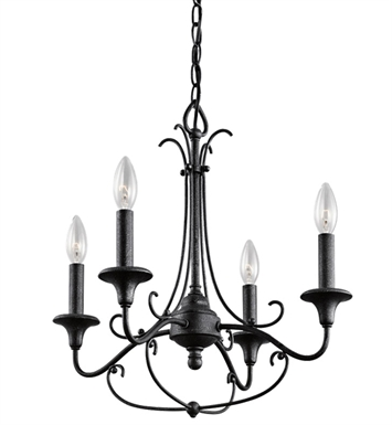 Kichler 43453DBK Basel Collection Mini Chandelier 4 Light in Distressed Black