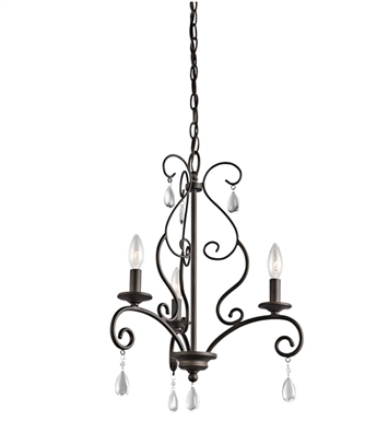 Kichler 43447OZ Marcele Collection Mini Chandelier 3 Light in Olde Bronze