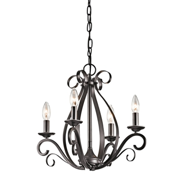 Kichler 43462SMG Kambry Collection Mini Chandelier 4 Light in Grey
