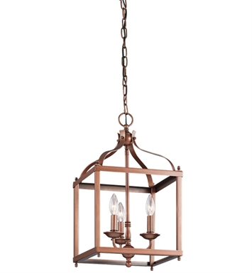 Kichler 42566ACO Larkin Collection Foyer Pendant Cage 3 Light in Antique Copper
