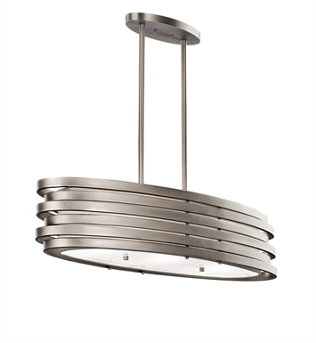 Kichler 43303NI Roswell Collection Chandelier/Oval Pendant 3 Light in Brushed Nickel