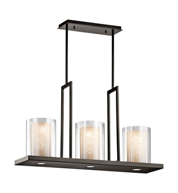 Kichler 42547OZ Triad Collection Chandelier Linear 3 Light With Finish: Olde Bronze